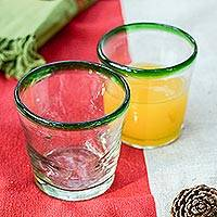 Juice glasses, 'Lime Freeze' (set of 6) - Eco-Friendly Recycled Glass Tumbler Set from Mexico