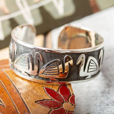 Sterling silver cuff bracelet, 'Pre-Hispanic Ducks' - Sterling silver cuff bracelet