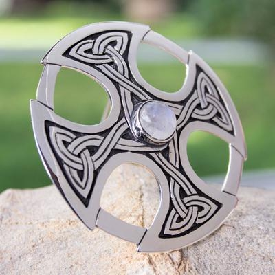 Moonstone cross brooch pin pendant, 'Celtic Cross' - Handcrafted Moonstone and Silver Cross Brooch Pin