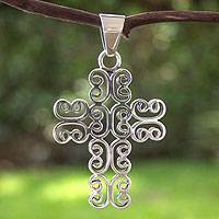 Sterling silver cross pendant, 'Heavenly' - Handcrafted Christian Cross Sterling Silver Pendant