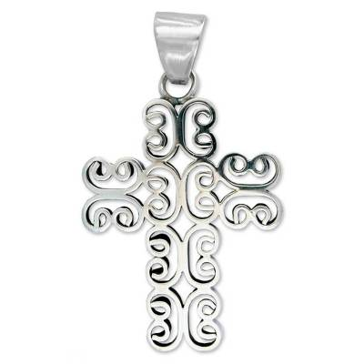 Handcrafted Christian Cross Sterling Silver Pendant