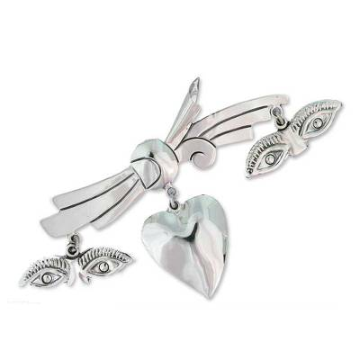 Sterling silver brooch pin, 'All-Seeing Heart' - Sterling silver brooch pin