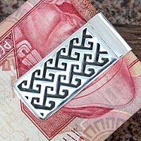 Sterling silver money clip, 'Aztec Frieze' - Sterling silver money clip