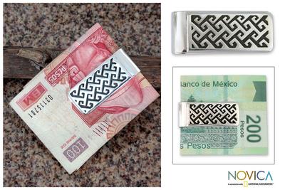 Sterling silver money clip, 'Aztec Frieze' - Sterling silver money clip