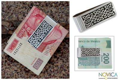 Sterling silver money clip, 'Celtic Frieze' - Unique Handmade Sterling Silver Money Clip Mens Accessory