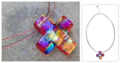Dichroic art glass cross necklace, 'Bright Cross' - Cross Pendant Necklace Dichroic Art Glass Handmade in Mexico