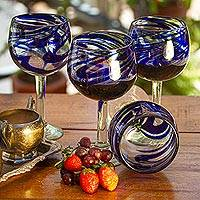 Wine glasses, 'Blue Ribbon' (large, set of 6) - Handblown Recycled Glass Striped Wine Goblets Set of 6