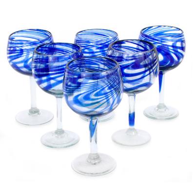 blue spiral wine glasses