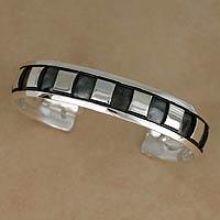 Men's sterling silver cuff bracelet, 'Symmetrical Elegance' - Men's Handmade Sterling Silver Cuff Bracelet Mexico