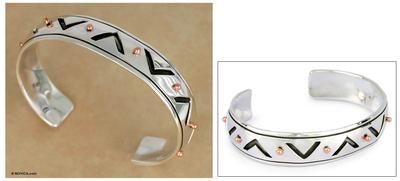 Men's sterling silver cuff bracelet, 'Copper Suns' - Men's sterling silver cuff bracelet