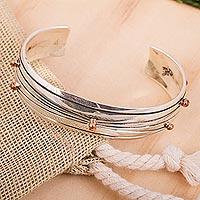 Men's sterling silver cuff bracelet, 'Vectors' - Men's Handcrafted Taxco Silver Sterling Silver Cuff Bracelet