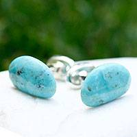 Turquoise cufflinks, 'Trade Winds' - Handmade Mexico Sterling Silver Genuine Turquoise Cufflinks
