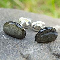 Obsidian cufflinks, 'Gigolo' - Obsidian cufflinks