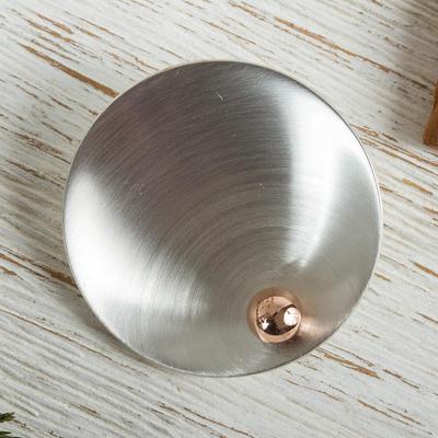 Sterling silver pendant, 'Solitaire Sun' - Fair Trade Mexican Modern Sterling Silver Pendant