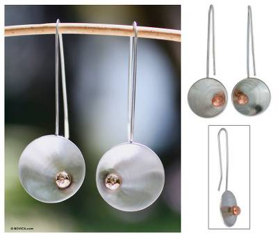 Sterling silver drop earrings, 'Solitaire Sun' - Collectible Modern Copper and Sterling Silver Drop Earrings