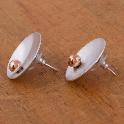 Sterling silver button earrings, 'Solitaire Sun' - Sterling silver button earrings