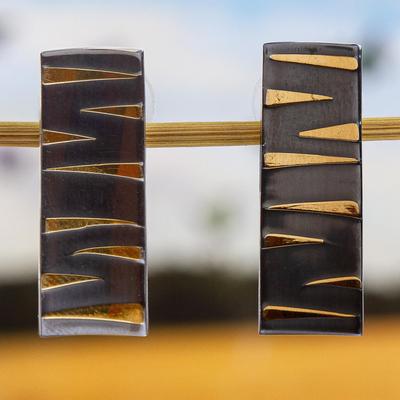 Gold accented sterling silver drop earrings, 'Golden Tiger' - 24k Gold Accent Modern Sterling Silver Drop Earrings