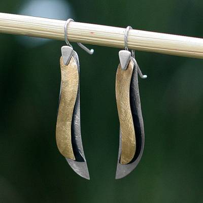 Sterling silver dangle earrings, 'Nature's Contrasts' - Mexican Sterling Silver Gold Plated Leaf Earrings