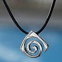 Sterling silver pendant necklace, 'Vortex'