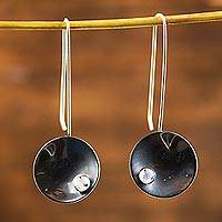 Sterling silver drop earrings, 'Venus Moon'