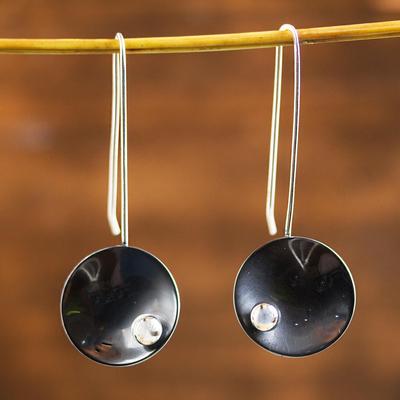 Sterling silver drop earrings, 'Venus Moon' - Sterling silver drop earrings