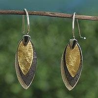 Sterling silver dangle earrings, 'Turning Leaves'