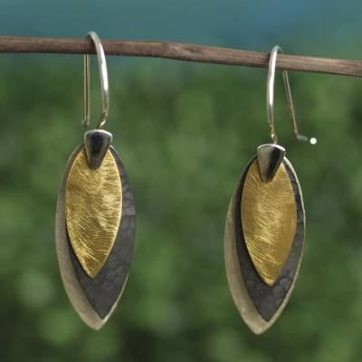 Sterling silver dangle earrings, 'Turning Leaves' - Modern Silver Earrings with 22k Gold from Mexico