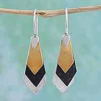 Sterling silver dangle earrings, 'Geometrical Riddles' - Modern Gold Accent Dangle Earrings from Mexico