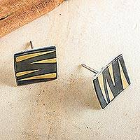 Sterling silver button earrings, 'Golden Tiger' - Modern Sterling Silver Tiger Stripe Earrings from Mexico