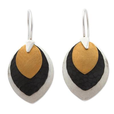 Sterling silver dangle earrings, 'New Life' - Fair Trade Modern Gold Accent Dangle Earrings