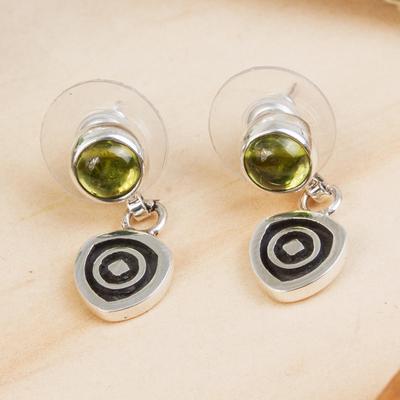 Peridot dangle earrings, 'Hypnotize' - Modern Sterling Silver Peridot Earrings