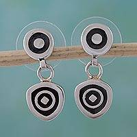 Sterling silver dangle earrings, 'Hypnotic' - Handcrafted Modern Sterling Silver Dangle Earrings