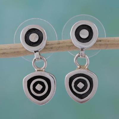 Sterling silver dangle earrings, 'Hypnotic' - Handcrafted Modern Sterling Silver Dangle Earrings