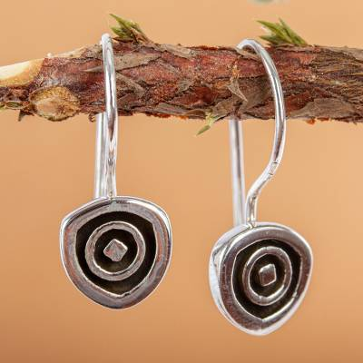 Sterling silver drop earrings, 'Hypnotize' - Unique Modern Sterling Silver Drop Earrings