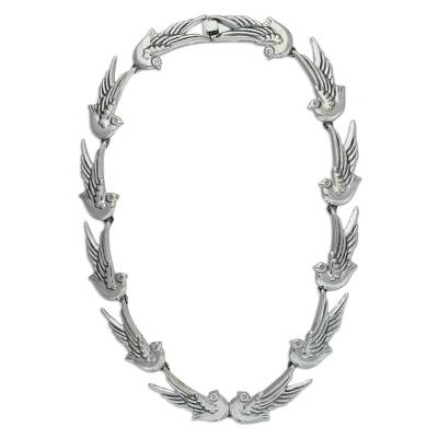 Sterling silver link necklace, 'Doves Peace' - Sterling Silver Bird Necklace Statement jewellery from Mexic