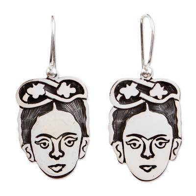 Sterling silver dangle earrings, 'Frida Kahlo Portrait' - Unique Taxco Silver Frida Kahlo Portrait Earrings
