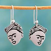 Sterling silver dangle earrings, 'For Frida'