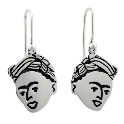 Sterling silver dangle earrings, 'For Frida' - Sterling silver dangle earrings