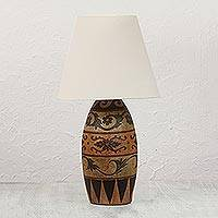 Ceramic table lamp, 'Antique Fantasy' - Handmade Ceramic and Natural Pigment Table Lamp