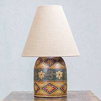 Ceramic table lamp, 'Wildflowers' - Handcrafted Mexico Ceramic Lamp