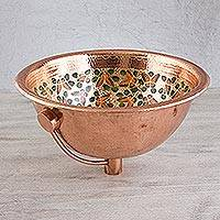 Copper and gold leaf sink, 'Butterfly Sanctuary' - Handpainted 22k Gold on Copper Bathroom Sink