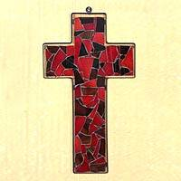 Stained glass cross, 'Love' - Stained glass cross