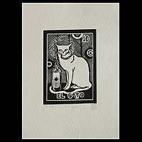 'The Cat, Tequila Lotto' - Mexico Folk Art Theme Signed Black and White Painting