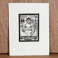 'The Drunk, Tequila Lotto' - Mexico Folk Art Theme Signed Black and White Etching
