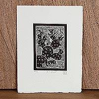 'The Cactus, Tequila Lotto' - Mexico Folk Art Theme Signed Black and White Etching