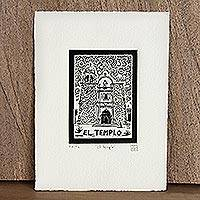 The Temple, Tequila Lotto' - Mexico Religious Folk Art Signed Limited Edition Etching