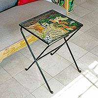 Stained glass folding table, 'Miro's Village' - Stained glass folding table