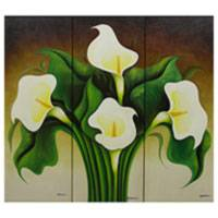 'Calla Lilies' (triptych) - Fair Trade Floral Realist Painting (Triptych)