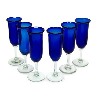 Champagne glasses, 'Cobalt' (set of 6) - 6 Handcrafted Handblown Glass Blue Champagne Glasses Set