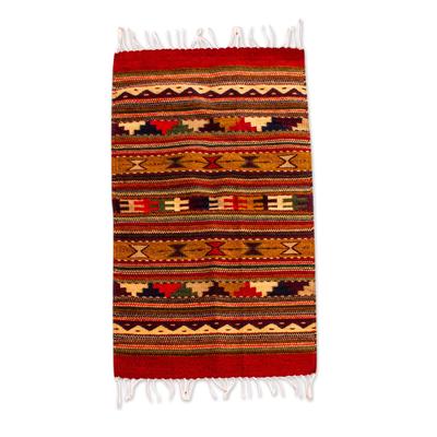 Zapotec wool rug, 'Winter Hills (2x3.5) - Small Earth Tone Geometric Zapotec Rug (2x3.5)